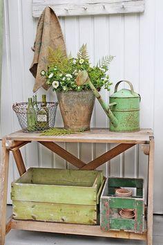 Potting bench with primitive painted boxes - via VIBEKE DESIGN ~sandra de~Interior Design~ Vibeke Design, Deco Floral, Garden Cottage, Porch Decorating, Decorating Ideas, Cool Ideas, Cottage Style, French Cottage, Garden Inspiration