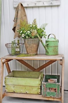 potting bench/table for an entryway