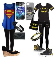 """""""Batman Vs. Superman"""" by neverland-is-my-home ❤ liked on Polyvore featuring Pieces, Paige Denim, H&M and Converse"""