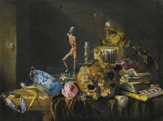 Cornelis de Heem LEIDEN 1631 - 1695 ANTWERP A VANITAS STILL LIFE WITH A SKULL AND AN ÉCORCHÉ, ON A DRAPED TABLE oil on canvas 60 by 78 cm.; 23 5/8  by 30 3/4  in.