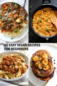 65 Easy Vegan Recipes for Beginners 65 Easy Vegan Recipes for Beginners! Easy 1 Pot Meals soups stir fries curries burgers pizza breakfast and dessert to get you started on your journey. Glutenfree Soyfree Nutfree options Source by shirarisenberg Vegan Recipes Beginner, Best Vegan Recipes, Healthy Recipes, Healthy Meals, Simple Vegan Meals, Autumn Recipes Vegan, Easy Vegan Food, Asian Recipes, Cheap Vegan Meals