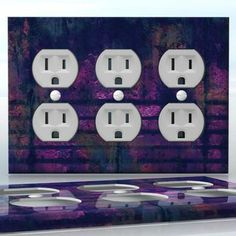 DIY Do It Yourself Home Decor - Easy to apply wall plate wraps | Prison Blues  Bars after dark  wallplate skin sticker for 3 Gang Wall Socket Duplex Receptacle | On SALE now only $5.95