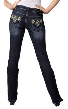 Miss Me® Ladies Cream Leather and Embroidery Aztec w/ Crystals and Studs