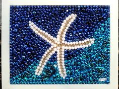 Starfish mosaic ready to ship!  * Star of the Beach * 8x10 repurposed frame * turquoise & white  This Mardi Gras bead mosaic titled Star of the