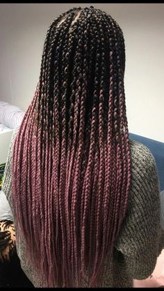Box braids are beautiful, timeless, and practical. Take a look at 40 styles featuring small box braids (braids the size of a pencil or smaller). Pink Box Braids, Ombre Box Braids, Colored Box Braids, Blonde Box Braids, Short Box Braids, Braids For Black Hair, Small Box Braids Hairstyles, Braided Hairstyles, Box Braids Pictures
