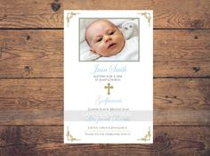 Tarjeta gracias bautizo chico invitación,azul y oro, baptism invitation boy, thank you card baptism, cristianismo, printable by LaminitasPrintables on Etsy