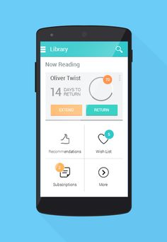 Concept Visual Design for Library Management Android Native App.