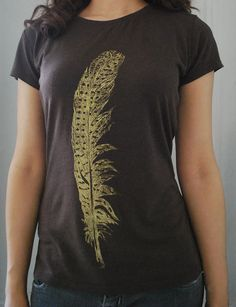 Women's Feather tshirt Bamboo and Organic Cotton by TheLotusRoot