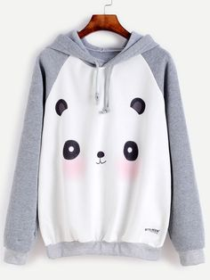 Contrast Cartoon Panda Print Raglan Sleeve Hooded Sweatshirt