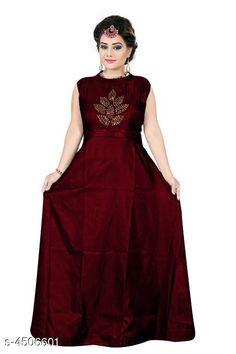 Gowns Stylish Taffeta Silk Diamond Work Women's Gown Fabric: Taffeta Silk Sleeve Length: Three-Quarter Sleeves Pattern: Printed Multipack: 1 Sizes: XL (Bust Size: 42 in Length Size: 55 in Waist Size: 38 in Hip Size: 43 in)  L (Bust Size: 40 in Length Size: 55 in Waist Size: 36 in Hip Size: 41 in)  XXL (Bust Size: 44 in Length Size: 55 in Waist Size: 40 in Hip Size: 45 in) Country of Origin: India Sizes Available: L, XL, XXL   Catalog Rating: ★4.1 (779)  Catalog Name: Stylish Taffeta Silk Diamond Work Women's Gowns CatalogID_651197 C79-SC1289 Code: 843-4506601-138