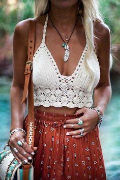 Crochet top crochet beach top crochet fashion crochet etsy boho chic styles to try this summer Boho Outfits, Cute Hippie Outfits, Summer Outfits Boho Chic, Gypsy Style Outfits, Coachella Outfit Boho, Trendy Outfits, Winter Outfits, Looks Hippie, Mode Hippie