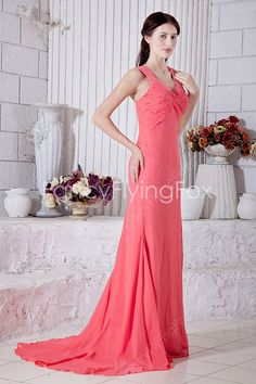 Watermelon Chiffon V-Neckline Double Straps A-line Full Length Celebrity Dresses Back With Keyhole