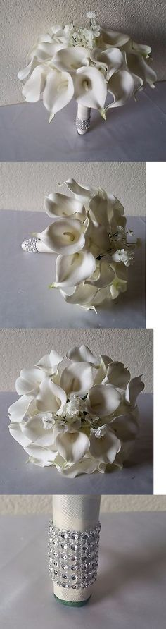 Flowers Petals and Garlands 20938: Ivory Real Touch Calla Lily Bridal Wedding Bouquet And Boutonniere -> BUY IT NOW ONLY: $59.99 on eBay!