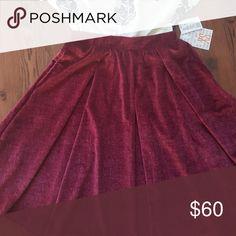 Brand new lularoe velvet Madison skirt unicorn Velvet purple magenta maroon pleated Madison style skirt with pockets! Hard to find elegance collection piece unicorn! LuLaRoe Skirts Midi
