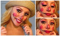 Halloween season and I came up with this sweet scarecrow look that would be perfect for work or school! I first came up with the make up portion and then cam. Scarecrow Halloween Makeup, Halloween Costumes Scarecrow, Halloween 2014, Homemade Halloween, Halloween Projects, Halloween Make Up, Halloween Party, Halloween Season, Halloween Ideas