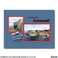 briefkaart voor Dubrovnik, Kroatië, Photo, tourism, Europe, Croatia, Croatian, Adriatic sea, Adriatic , Mediterranean, Dalmatian, Dalmatia , Dalmatic , Dalmatië,  Dubrovnik, vacation, travelling, journey, holiday, holidays, holiday, voyage, reizen, vakantie, Kroatie, postcard, postcards, design,  Originele postkaarten voor het Dubrovnik in Kroatië met een heel nieuw design. Ook verkrijgbaar ZONDER TEKST zodat je ze kan personaliseren