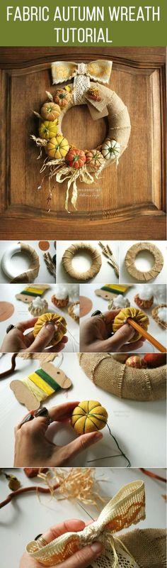 Fabric autumn wreath tutorial