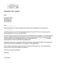 ideas about resignation letter on pinterest   sample    letter of resignation  weeks notice template