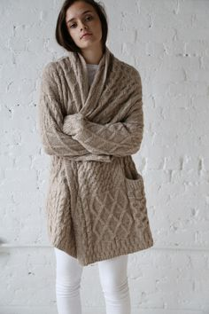 Lauren Manoogian Cable Capote Coat Ecru