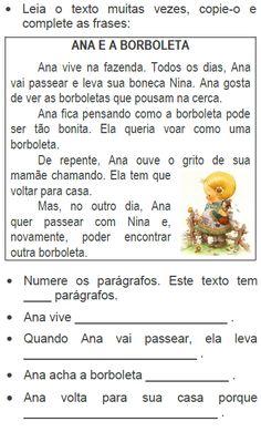 Texto ANA E A BORBOLETA, de Elisângela Terra Portuguese Language, Education, Terra, Holga, 1, Alice, Google, Poetry Activities, Sight Word Activities