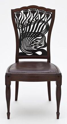 Art Nouveau Mahogany Chair 1883 Arthur Heygate Mackmurdo / Designer (England, 1851-1942), Collinson & Lock (England, London, 1870-1897), Century Guild (England, London and Manchester, 1882-circa 1888)