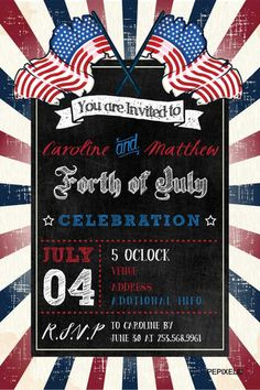 Printable 4th of July Party Invitation Vintage Fourth of July