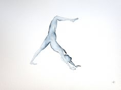 Yoga art | Original | Downward dog | Indigo | Watercolour Painting by Sybilleart on Etsy