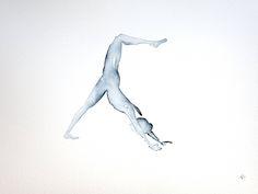 Yoga art | Original | Downward dog | Indigo | Watercolour Painting by Sybilleart on Etsy