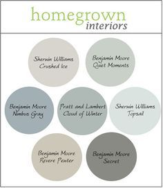 Transitional Paint Color for Modern Interiors.  Gray, Blue and Green Paint Colors. Crushed Ice Sherwin Williams. Quiet Moments Benjamin Moore. Nimbus Gray Benjamin Moore. Cloud of Winter Pratt and Lambert. Topsail Sherwin Williams. Revere Pewter Benjamin Moore. Secret Benjamin Moore. Via Homegrown Interiors.