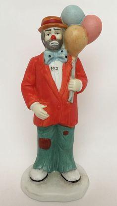 "Emmett Kelly Jr Clown Holding Balloons Porcelain Figurine Flambro Vintage 6"" #Flambro #Figurine"