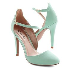 ModCloth Pastel Contemporary Chic Heel ❤ liked on Polyvore featuring shoes, pumps, mint shoes, mint green pumps, pastel pumps, pastel shoes and mint pumps