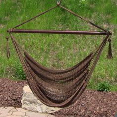 Caribbean Extra Large Mocha Hanging Hammock Swing Swinging Chair Indoor Outdoor