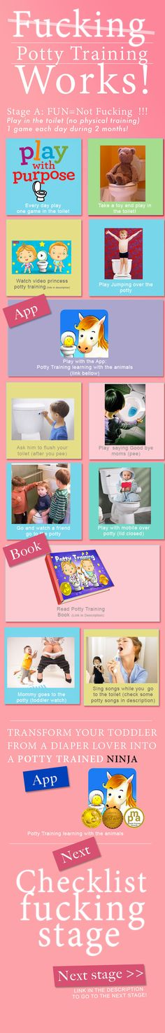 #fucking #potty #training that works! TRANSFORM YOUR TODDLER FROM A #DIAPER LOVER INTO A #POTTY #TRAINED NINJA #infographic #parenting #toddler  Links: app: https://itunes.apple.com/us/app/potty-training-learning-animals/id600570351?mt=8 link video: