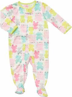 Baby Girl Footie Romper Overall Frogsuit 1 Piece Velour Sleeper Beautiful Bow
