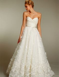 pretty cross-cross neckline with rouching, but that skirt would drown me......Primrose gown by Christos