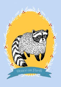HOLIDAY Cards Set Racoon Peace on Earth postcard by IrenaSophia
