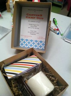 S'mores in a box camping party invite, love!