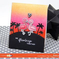 Good morning and Happy Friday!! Jess here with a bright and sparkly card featuring a really cute set from Lawn Fawn! I'm still as annoyed with the hot weather as I was last week but I'm trying to channeltropical islands instead of hot, humid Virginia!  To start I stamped the flamingos from Lawn Fawn's …
