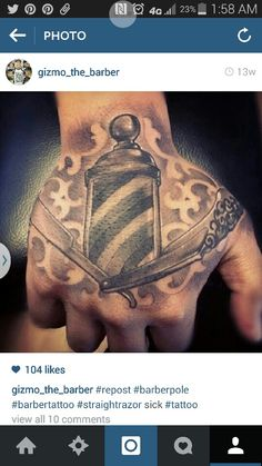 Barber pole and razor tattoo