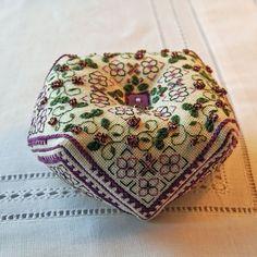 LOVE this!  Viola  Biscornu Pattern by RainburstEmbroidery on Etsy, $4.00