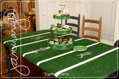 I love the table maybe for the cake table?  -  The Rachel Berry Blog: Oregon Ducks Birthday.