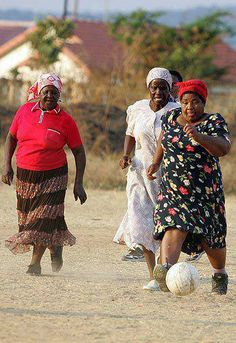 Women play a game of soccer in the Nkowankowa Township July 2008 in Limpopo, South Africa. The grannies play twice a week to keep fit and show their support for the 2010 Soccer World Cup being held in South Africa.