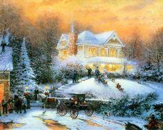 Magical Christmas - snow, christmas, house, cart, art, horse, trees, thomas kinkade