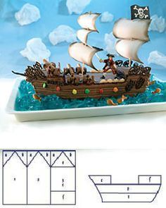 pirate ship cake -love the idea of using blue jello for the water and those things for the cannons and having a little pirate for the one for each boyChildrens Birthday Party Ideas, Themes and Recipies Pirate Boat Cake, Pirate Birthday Cake, Pirate Ship Cakes, Birthday Cakes, Geek Birthday, Pirate Ships, 5th Birthday, Monster High Cakes, Cake Decorating Tutorials