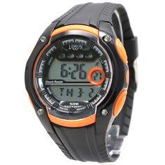 DW441E хронограф Дата BackLight воды Сопротивление женщины дамы Оранжевый цифровые часы