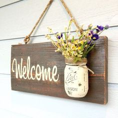 Rustic country home decor front porch welcome sign, spring decor for front porch, outdoor sig. - Rustic country home decor front porch welcome sign, spring decor for front porch, outdoor signs wel - Mason Jar Projects, Mason Jar Crafts, Pickle Jar Crafts, Home Crafts, Easy Crafts, Decor Crafts, Crafts For The Home, Home Craft Ideas, Diy Crafts Vases