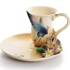 Franz Collection Red Spotted Purple Butterfly Cup & Saucer