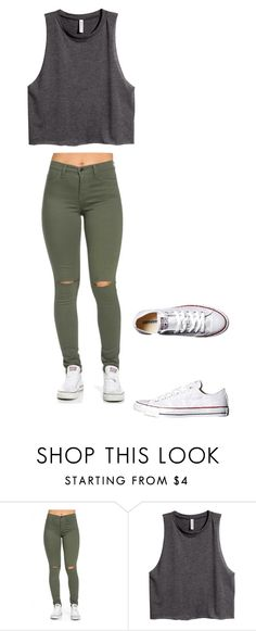 """School outfit #3"" by sarahmae-2307 ❤ liked on Polyvore featuring H&M and Converse"