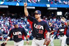 Ben Zobrist waves to crowd after Team USA beats Canada 9-4 on 3-10-13 via MLB.com
