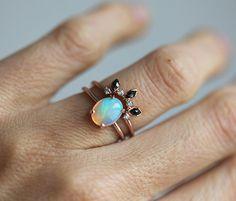 Rose Gold Opal Ring Ethiopian Opal Ring Welo Opal by MinimalVS